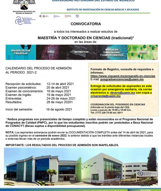 Convocatoria Posgrado para 2021-2